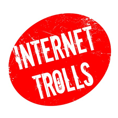Internet Trolls rubber stamp. Grunge design with dust scratches. Effects can be easily removed for a clean, crisp look. Color is easily changed. Stock Photo