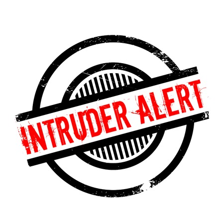 intrude: Intruder Alert rubber stamp. Grunge design with dust scratches. Effects can be easily removed for a clean, crisp look. Color is easily changed.