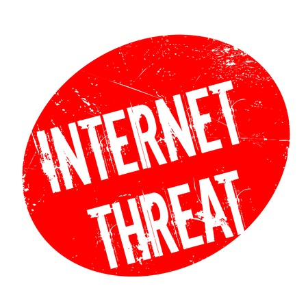 Internet Threat rubber stamp. Grunge design with dust scratches. Effects can be easily removed for a clean, crisp look. Color is easily changed. Stock Photo
