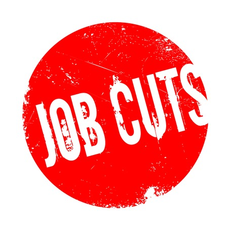Job Cuts rubber stamp. Grunge design with dust scratches. Effects can be easily removed for a clean, crisp look. Color is easily changed. Stock Photo