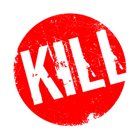 Kill rubber stamp. Grunge design with dust scratches. Effects can be easily removed for a clean, crisp look. Color is easily changed.