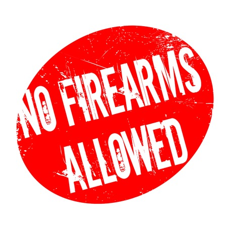 No Firearms Allowed rubber stamp. Grunge design with dust scratches. Effects can be easily removed for a clean, crisp look. Color is easily changed. Illustration