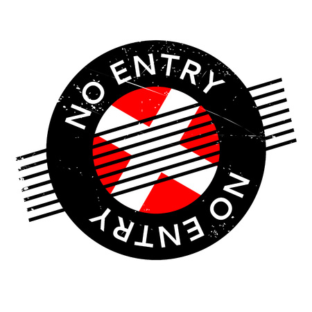 No Entry rubber stamp. Grunge design with dust scratches. Effects can be easily removed for a clean, crisp look. Color is easily changed.