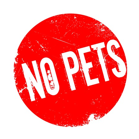 No Pets rubber stamp. Grunge design with dust scratches. Effects can be easily removed for a clean, crisp look. Color is easily changed. Illustration