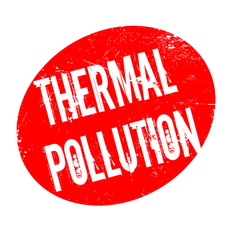 thermal power plant: Thermal Pollution rubber stamp. Grunge design with dust scratches. Effects can be easily removed for a clean, crisp look. Color is easily changed.