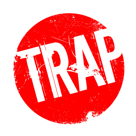 Trap rubber stamp. Grunge design with dust scratches. Effects can be easily removed for a clean, crisp look. Color is easily changed.