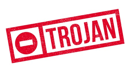 hacked: Trojan rubber stamp. Grunge design with dust scratches. Effects can be easily removed for a clean, crisp look. Color is easily changed. Stock Photo