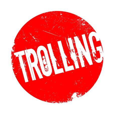 chat room: Trolling rubber stamp. Grunge design with dust scratches. Effects can be easily removed for a clean, crisp look. Color is easily changed. Illustration