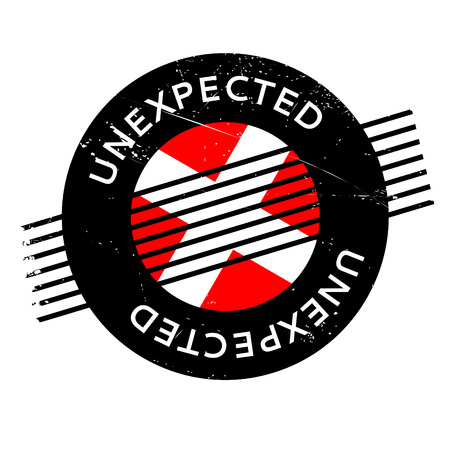 unanticipated: Unexpected rubber stamp. Grunge design with dust scratches. Effects can be easily removed for a clean, crisp look. Color is easily changed. Illustration