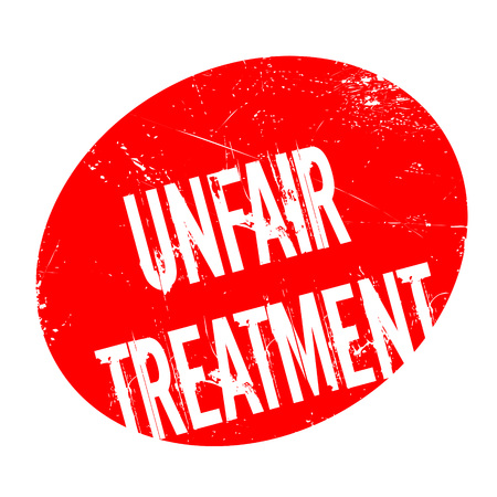 Unfair Treatment rubber stamp. Grunge design with dust scratches. Effects can be easily removed for a clean, crisp look. Color is easily changed. Illustration