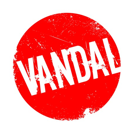Vandal rubber stamp. Grunge design with dust scratches. Effects can be easily removed for a clean, crisp look. Color is easily changed.