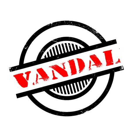 vandal: Vandal rubber stamp. Grunge design with dust scratches. Effects can be easily removed for a clean, crisp look. Color is easily changed.