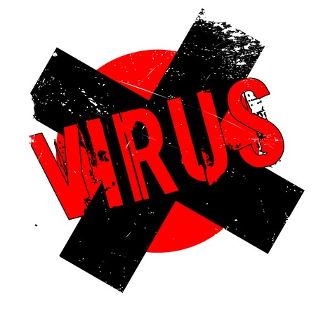 malware: Virus rubber stamp. Grunge design with dust scratches. Effects can be easily removed for a clean, crisp look. Color is easily changed. Stock Photo