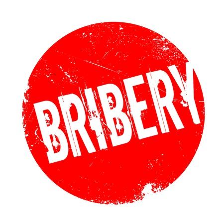 Bribery rubber stamp. Grunge design with dust scratches. Effects can be easily removed for a clean, crisp look. Color is easily changed. Stock Photo