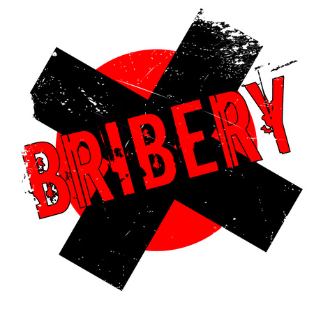 Bribery rubber stamp. Grunge design with dust scratches. Effects can be easily removed for a clean, crisp look. Color is easily changed. Illustration