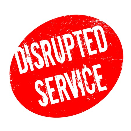 disruptive: Disrupted Service rubber stamp. Grunge design with dust scratches. Effects can be easily removed for a clean, crisp look. Color is easily changed. Stock Photo