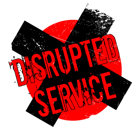 Disrupted Service rubber stamp. Grunge design with dust scratches. Effects can be easily removed for a clean, crisp look. Color is easily changed. Illustration