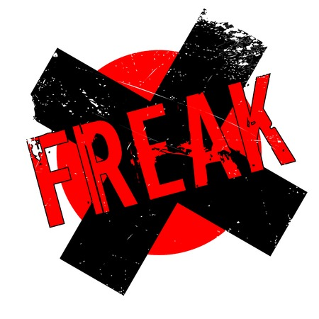oddity: Freak rubber stamp. Grunge design with dust scratches. Effects can be easily removed for a clean, crisp look. Color is easily changed. Stock Photo