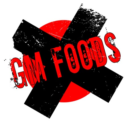 Gm Foods rubber stamp. Grunge design with dust scratches. Effects can be easily removed for a clean, crisp look. Color is easily changed.