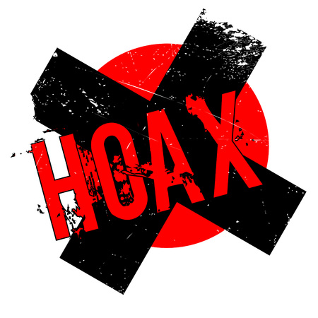 Hoax rubber stamp. Grunge design with dust scratches. Effects can be easily removed for a clean, crisp look. Color is easily changed. Illustration