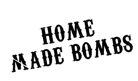 Home Made Bombs rubber stamp. Grunge design with dust scratches. Effects can be easily removed for a clean, crisp look. Color is easily changed. Ilustração