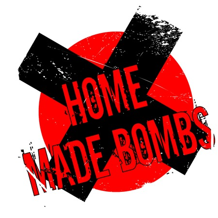 Home Made Bombs rubber stamp. Grunge design with dust scratches. Effects can be easily removed for a clean, crisp look. Color is easily changed. Illustration