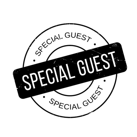 especial: Special Guest rubber stamp. Grunge design with dust scratches. Effects can be easily removed for a clean, crisp look. Color is easily changed. Illustration