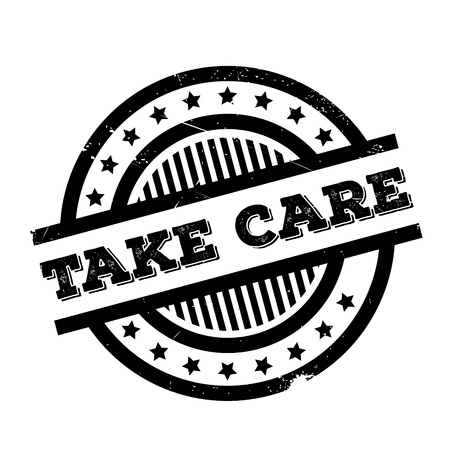 Take Care rubber stamp. Grunge design with dust scratches. Effects can be easily removed for a clean, crisp look. Color is easily changed. Illustration