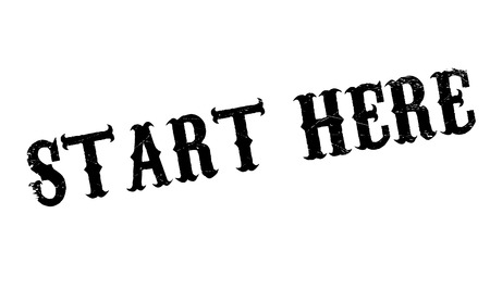 attending: Start Here rubber stamp. Grunge design with dust scratches. Effects can be easily removed for a clean, crisp look. Color is easily changed.