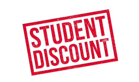 collegian: Student Discount rubber stamp. Grunge design with dust scratches. Effects can be easily removed for a clean, crisp look. Color is easily changed. Illustration