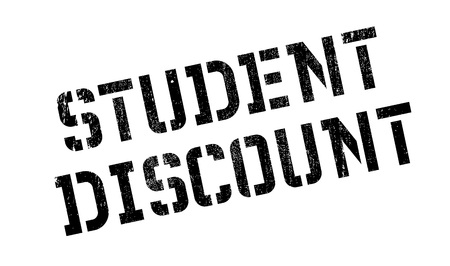 drawback: Student Discount rubber stamp. Grunge design with dust scratches. Effects can be easily removed for a clean, crisp look. Color is easily changed. Illustration