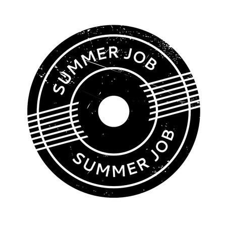 rubber stamp Summer Job. conception grunge avec des rayures de poussière. Les effets peuvent être facilement enlevés pour un aspect propre et croustillant. La couleur est facilement changée. Vecteurs