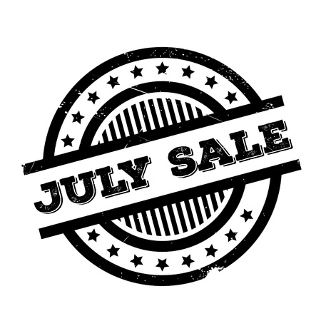 July Sale rubber stamp. Grunge design with dust scratches. Effects can be easily removed for a clean, crisp look. Color is easily changed.