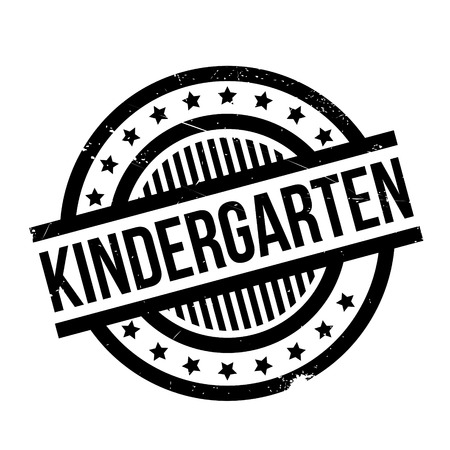 institute: Kindergarten rubber stamp. Grunge design with dust scratches. Effects can be easily removed for a clean, crisp look. Color is easily changed.