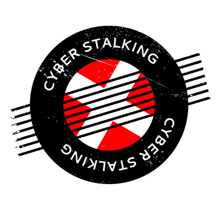 chat room: Cyber Stalking rubber stamp. Grunge design with dust scratches. Effects can be easily removed for a clean, crisp look. Color is easily changed. Illustration