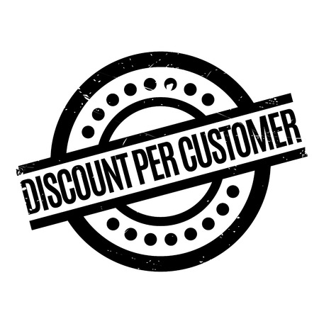 stakeholder: Discount Per Customer rubber stamp. Grunge design with dust scratches. Effects can be easily removed for a clean, crisp look. Color is easily changed.