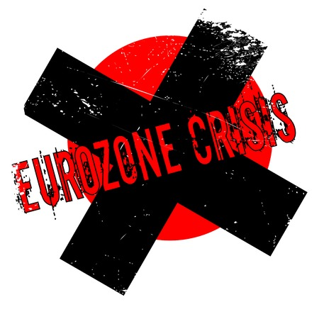 euro area: Eurozone Crisis rubber stamp. Grunge design with dust scratches. Effects can be easily removed for a clean, crisp look. Color is easily changed. Stock Photo