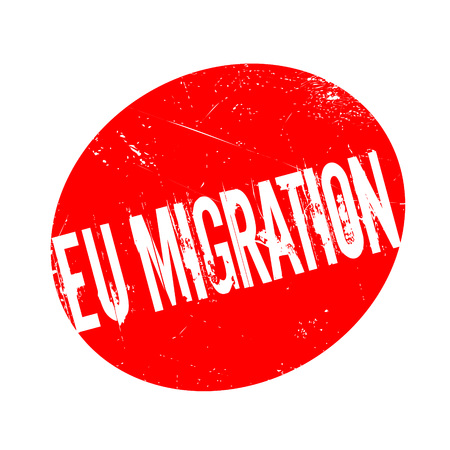 mainland: Eu Migration rubber stamp. Grunge design with dust scratches. Effects can be easily removed for a clean, crisp look. Color is easily changed.