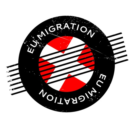 refugee: Eu Migration rubber stamp. Grunge design with dust scratches. Effects can be easily removed for a clean, crisp look. Color is easily changed.