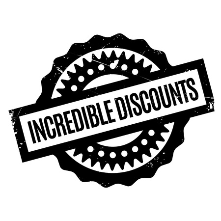 incredible: Incredible Discounts rubber stamp. Grunge design with dust scratches. Effects can be easily removed for a clean, crisp look. Color is easily changed. Illustration