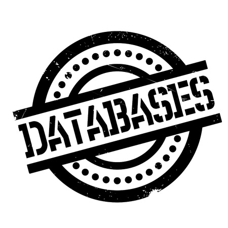 Databases rubber stamp. Grunge design with dust scratches. Effects can be easily removed for a clean, crisp look. Color is easily changed. Illustration