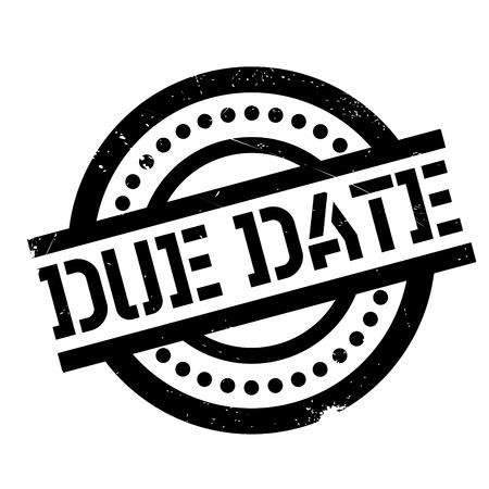 Due Date rubber stamp. Grunge design with dust scratches. Effects can be easily removed for a clean, crisp look. Color is easily changed.