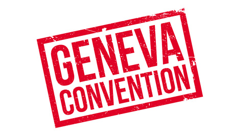 Geneva Convention rubber stamp. Grunge design with dust scratches. Effects can be easily removed for a clean, crisp look. Color is easily changed. Ilustrace