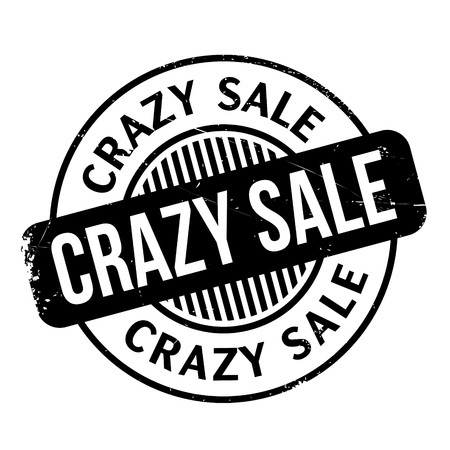 Crazy Sale rubber stamp. Grunge design with dust scratches. Effects can be easily removed for a clean, crisp look. Color is easily changed.
