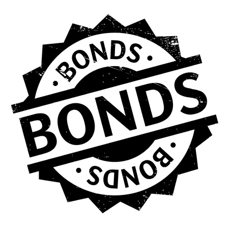 white interest rate: Bonds rubber stamp. Grunge design with dust scratches. Effects can be easily removed for a clean, crisp look. Color is easily changed.