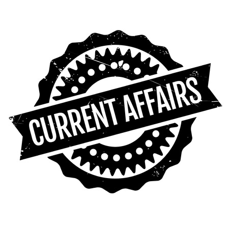 affairs: Current Affairs rubber stamp. Grunge design with dust scratches. Effects can be easily removed for a clean, crisp look. Color is easily changed.