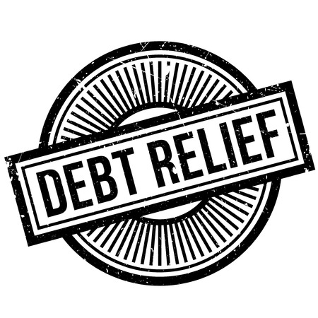 Debt Relief rubber stamp. Grunge design with dust scratches. Effects can be easily removed for a clean, crisp look. Color is easily changed. Illustration