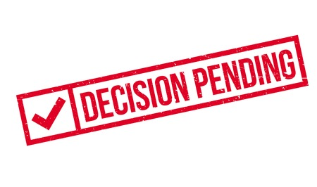 forthcoming: Decision Pending rubber stamp. Grunge design with dust scratches. Effects can be easily removed for a clean, crisp look. Color is easily changed.