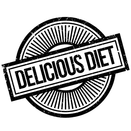 Delicious Diet rubber stamp. Grunge design with dust scratches. Effects can be easily removed for a clean, crisp look. Color is easily changed.