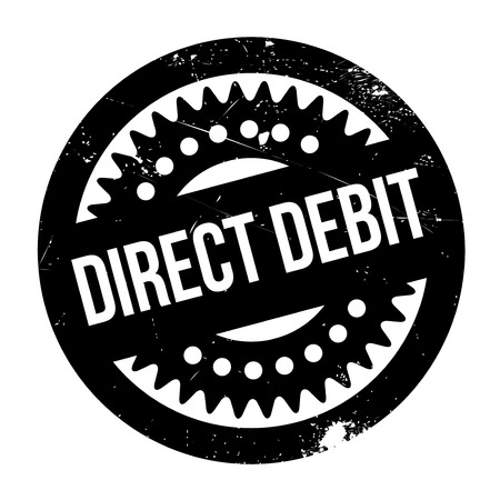 payee: Direct Debit rubber stamp. Grunge design with dust scratches. Effects can be easily removed for a clean, crisp look. Color is easily changed.